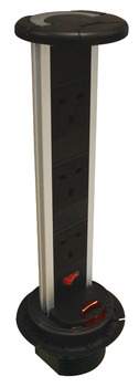Vertical Powerdock, Rated IP54, 3 x UK 13 Amp Sockets, Requires Ø 92 mm Drilled Hole