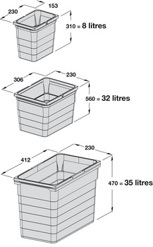 Waste Bin System, Packed Set, for Blum/Grass DWD Drawers, 35-80 litres, Ninka One2Five