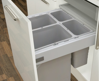 Waste Bin System, Packed Set, for Indaux Attraction Drawers, 35-80 litres, Ninka One2Five