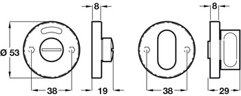 WC Escutcheon Set, Ø 53 mm, Stainless Steel