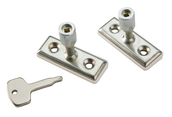 Window Staylock, for Casement Stays with Holes for Through Pegs, Steel and Brass