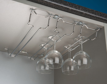 Wine Glass Rack, Chrome Wire, for Wall Cabinets
