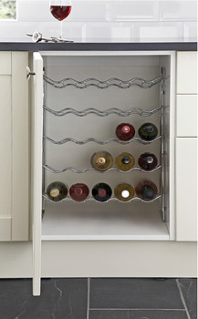 Wine Rack, Five Tier, Chrome Wire, for Base Cabinets