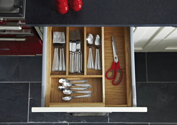 Wooden Expanding Cutlery Insert, for Drawer Depth 440-500 mm, eXTray