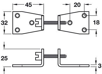 Worktop Connector, Bolt with Brackets