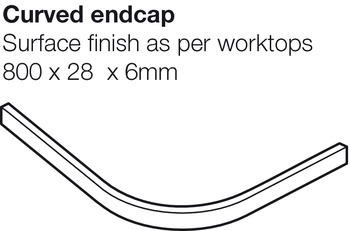 Worktop Curved Endcap, Solid Surface, Frost, Apollo® Magna