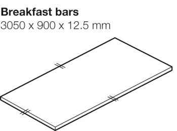 Worktop for Breakfast Bar, Blanco Marble, Apollo® Compact Solid Grade Laminate