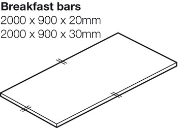 Worktop for Breakfast Bar, Solid Surface, Ice White, Apollo® Slab Tech