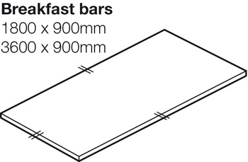 Worktop for Breakfast Bar, Solid Surface, Lava, Maia®