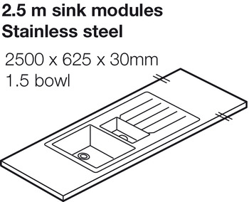 Worktop with Stainless Sink, Solid Surface, Snowflake, Apollo® Slab Tech