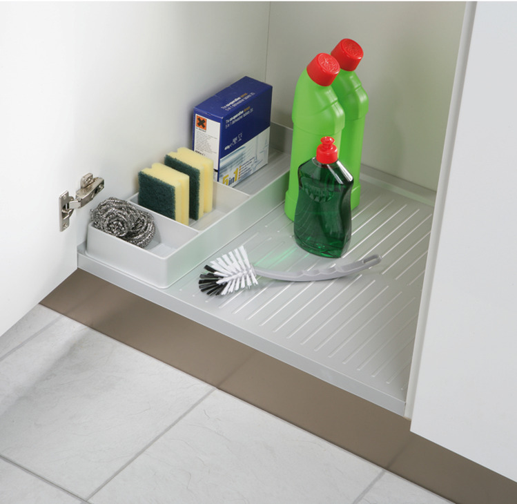 Kitchen Shelf Edge Protectors: Base Unit Liner, Plastic, With Lip To Cover Carcase Front