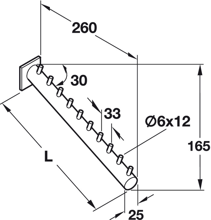 Clothes Hanger Rail, Inclined 60°, Length 300 mm