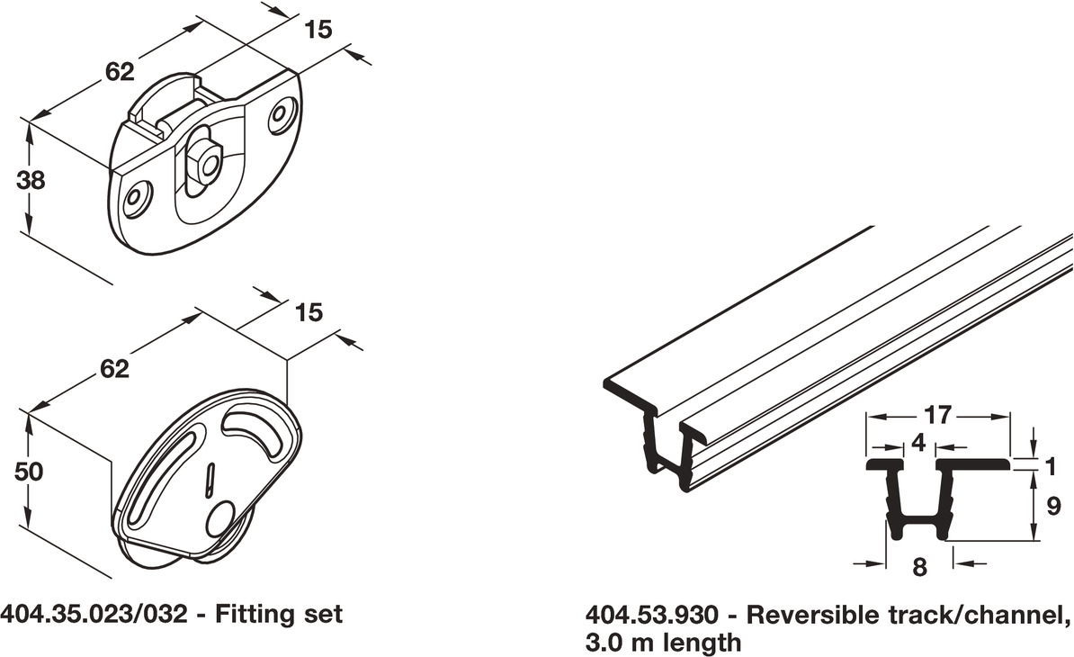 Complete Set With Tracks For Sliding Cabinet Doors Hfele System