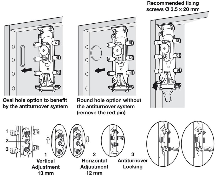 Concealed Cabinet Hanger Dowel Screw Mounting Libra H2