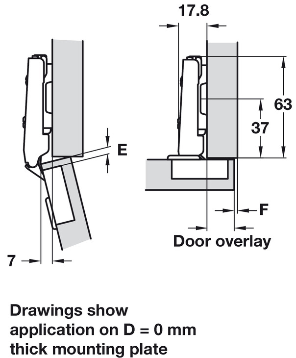 Concealed Cup Hinge 110 176 Integrated Soft Close Full