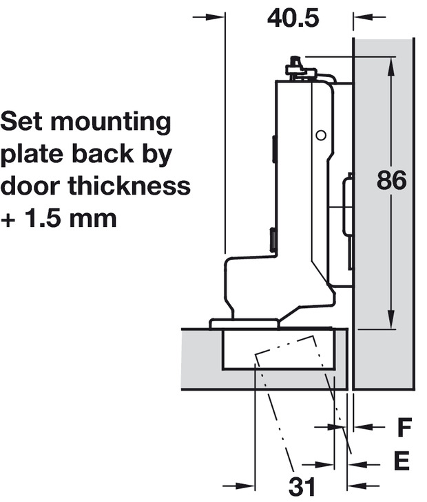 Concealed Cup Hinge 95 176 Standard For Up To 36 Mm Thick