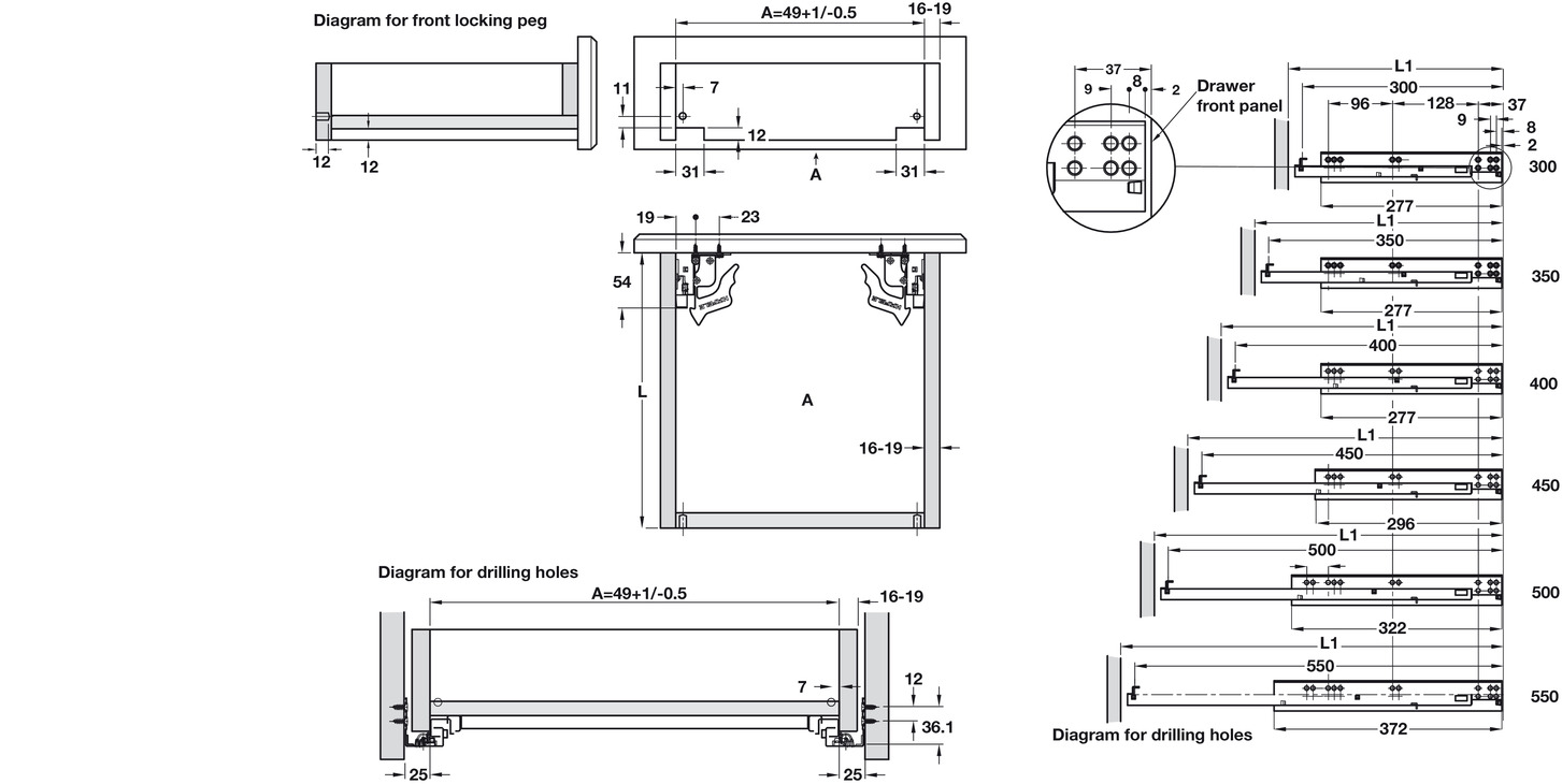 Concealed Drawer Runners Full Extension Load Capacity 30