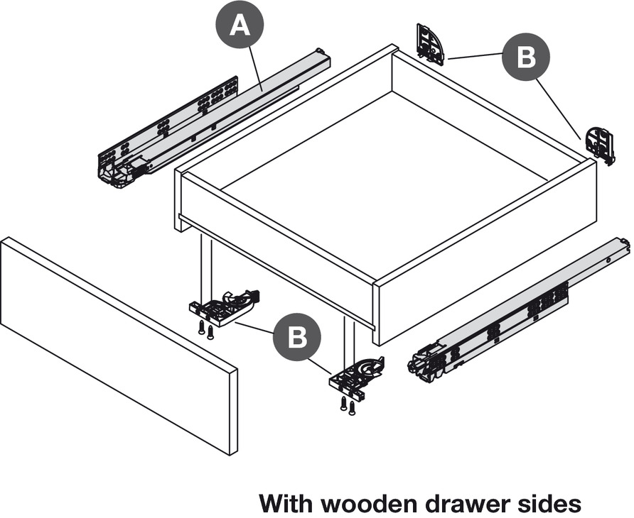 Concealed Drawer Runners Full Extension Packed Set With 4d Fixing