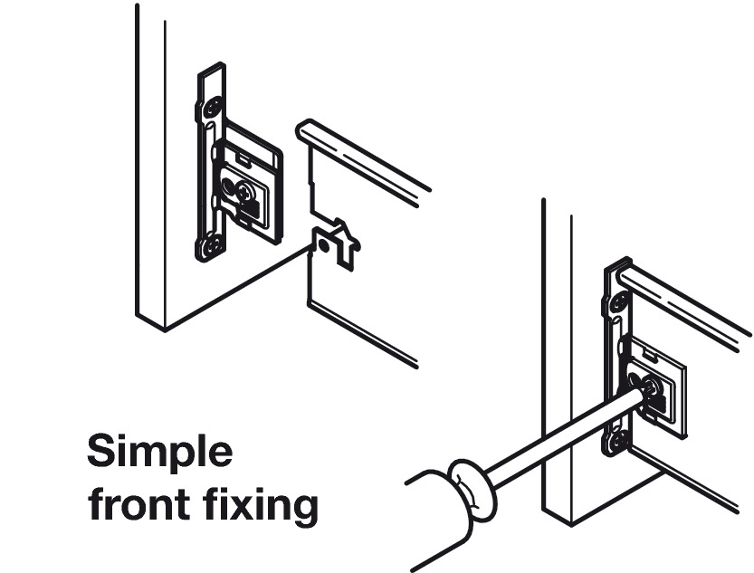 Drawer Front Fixing Components Screw Fixing For Grass Metal Drawer