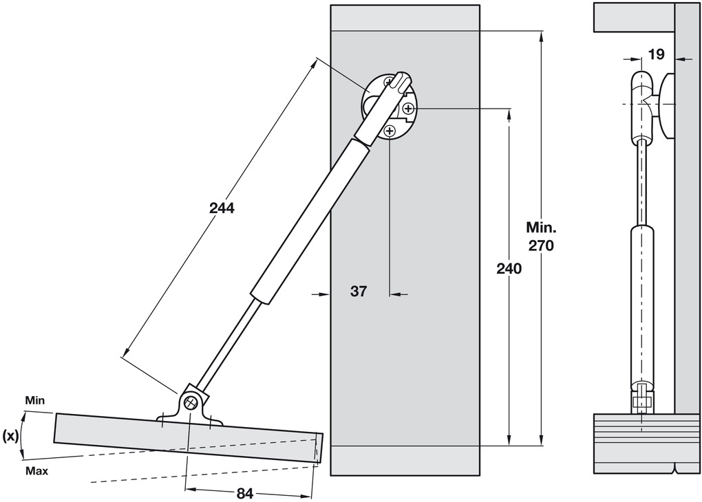Drop Down Flap Stay Automatic Opening 244 Mm Version