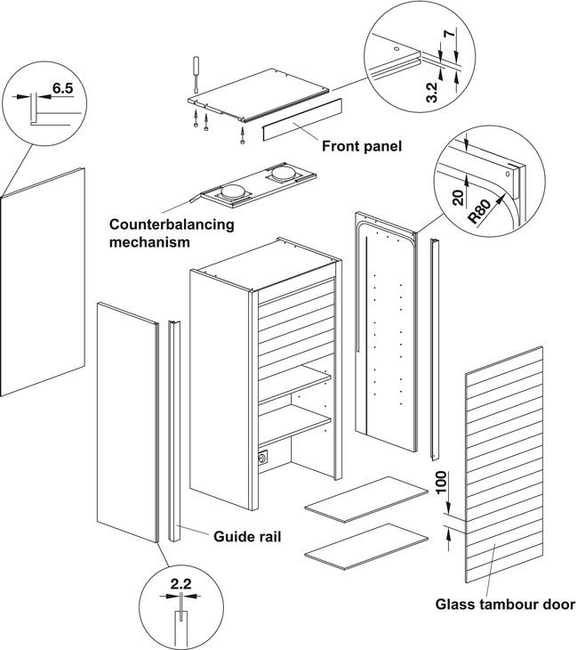 Glass Tambour Door System Unit Size Width 600 Mm X