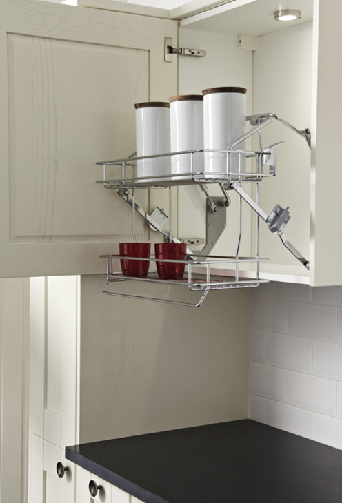 Pull Down Basket Shelves Two Tier Chrome Wire Gas Spring