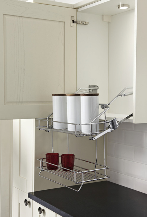 Pull Down Basket Shelves, Two Tier Chrome Wire, Gas Spring ...