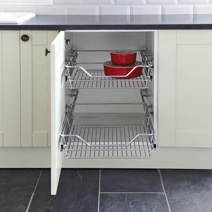 Pull Out Storage Basket Set, Chrome Linear Wire Baskets