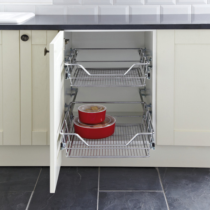 Pull Out Wire Basket Base Cabinet Chrome Kitchen Storage: Pull Out Storage Basket Set, Chrome Mesh Wire Baskets, For