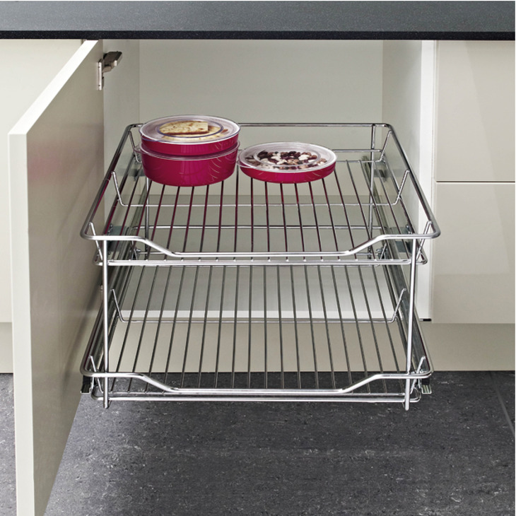 Pull Out Wire Basket Base Cabinet Chrome Kitchen Storage: Pull Out Storage Unit, Two Tier, Chrome Linear Wire Basket