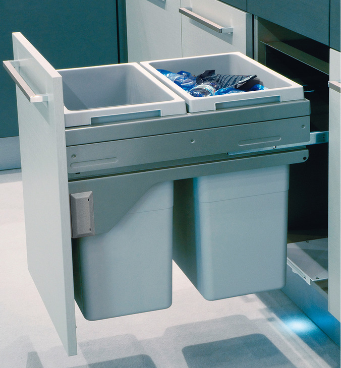 Kitchen Sink Hafele: Pull Out Waste Bin, 2 X 38 Litres / 2 X 38, 1 X 12 And 1 X