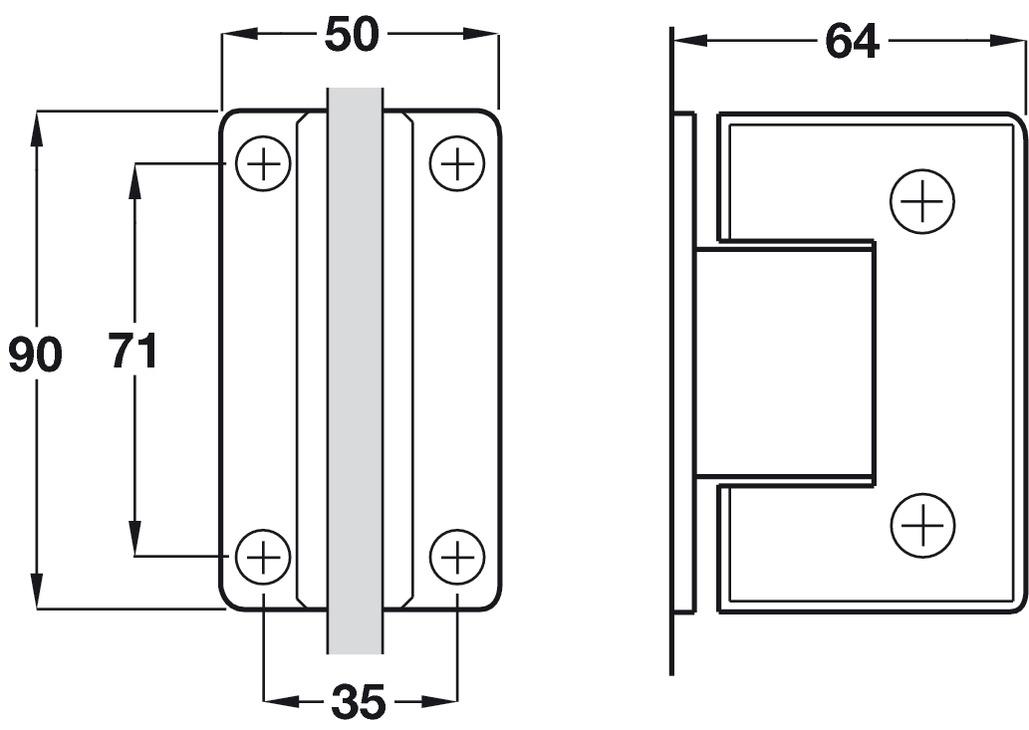 Shower Door Hinge Wall To Glass Hinge 90 176 H 228 Fele U K Shop