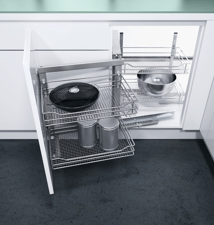 swing out corner storage unit saphir mesh chrome wire baskets automatic pull out action vauth. Black Bedroom Furniture Sets. Home Design Ideas
