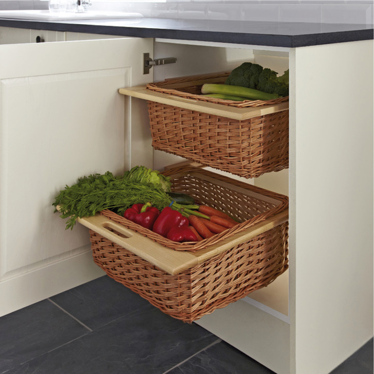 Wicker Basket Set Two Baskets With Runners For Cabinet
